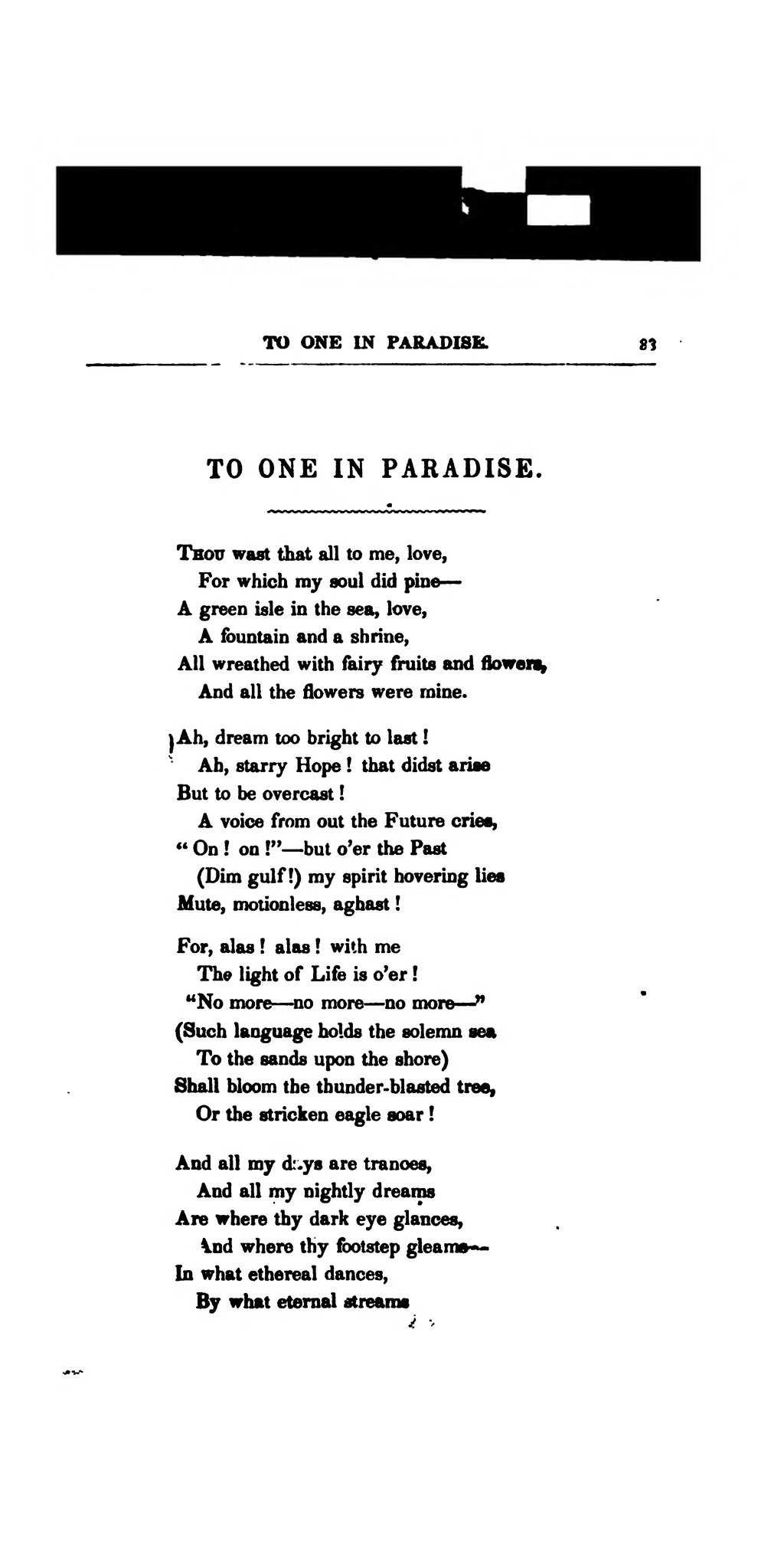 To One in Paradise