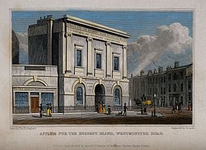 School for the Indigent Blind - The blind school, Southwark. Coloured engraving by R. Acon, 1829.