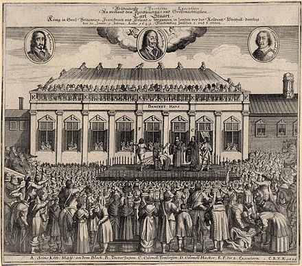 Contemporary German print of Charles I's beheading outside the Banqueting House, Whitehall The execution of King Charles I from NPG.jpg