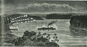 Pioneer (paddle-steamer) - The gunboat Pioneer at Meremere