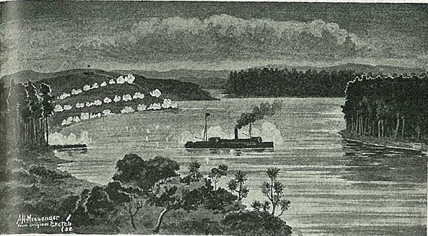 The gunboat Pioneer at Meremere during the Invasion of the Waikato. The gunboat pioneer at meremere.jpg