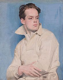 A painting of the sculptor, Maurice Lambert, by his father. Lambert is depicted as a young athlete in sporting attire.