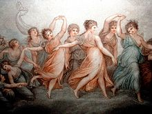 """The Hours by Maria Cosway, an illustration to Gray's poem Ode on the Spring, referring to the lines """"Lo! where the rosy-bosomed Hours, Fair Venus' train, appear"""" (Source: Wikimedia)"""