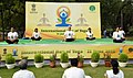 The participants in the mass performance of Common Yoga Protocol, on the occasion of the 4th International Day of Yoga -2018, at Nehru Park, in New Delhi on June 21, 2018.JPG