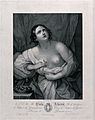 The suicide of Cleopatra; Cleopatra is standing next to her Wellcome V0041566.jpg