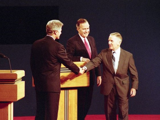Perot shakes hands with Bill Clinton at the third presidential debate at Michigan State University, October 19, 1992 Third debate 3267.jpg