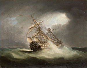 Thomas Buttersworth - H.M.S. 'Victory' in full sail and in a squall (2).jpg