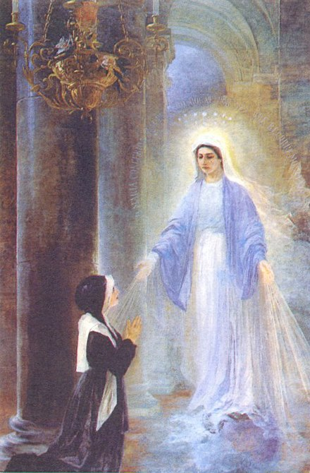 Marian apparition while praying by Thomas Georg Driendl (1888) Thomas Georg Driendl, 1909 , Aparicao da Virgem Maria.jpg