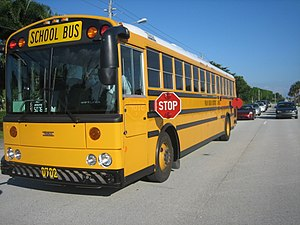 Stop sign - An American school bus displaying front and rear folding stop signs