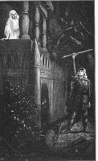 Þóra Borgarhjǫrtr - Thora Townhart, illustration by Jenny Nyström (1895)