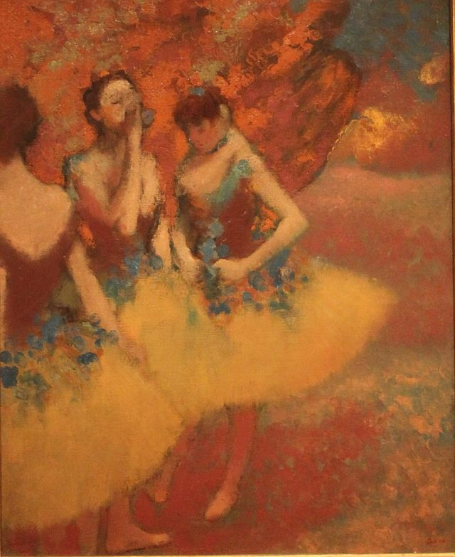 http://commons.wikimedia.org/wiki/Category:Ballet_by_Edgar_Degas#mediaviewer/File:Three_Dancers_in_Yellow_Skirts_Edgar_Degas.JPG
