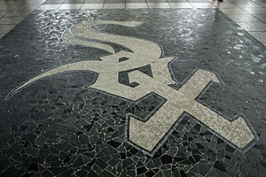 Sox–35th station - Chicago White Sox logo in the station floor