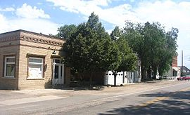 """Old Town Timnath"" in 2005. Structures, from left to right (north to south) are the town hall, fire station, and an empty storefront."