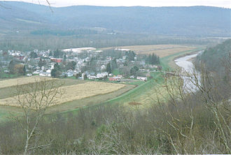 Tioga River (Chemung River tributary) - A panoramic view of the Tioga River Valley at Tioga, PA