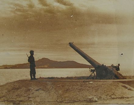 An Israeli soldier stands next to an Egyptian gun that had blocked the Tiran Straits. Tiran Guns IMG 0937.JPG