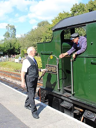 Signalling block system - Accepting a token on the South Devon Railway