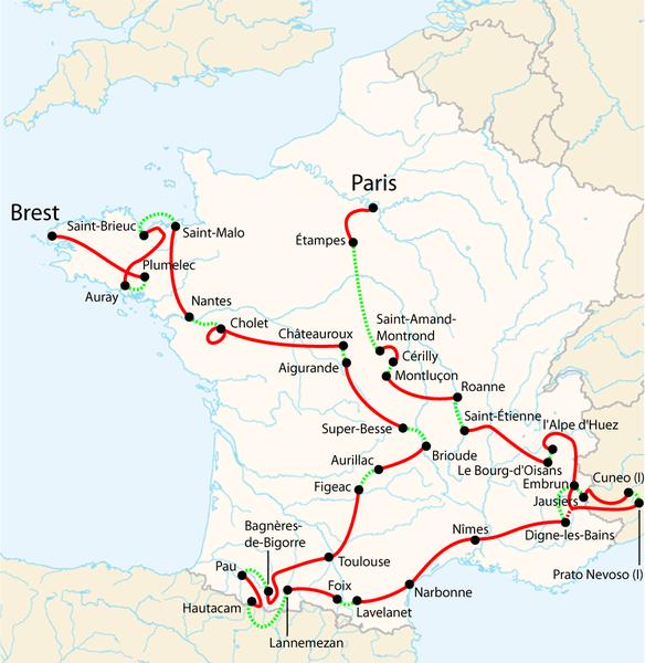 recorrido del tour de francia 2008