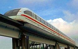 Transrapid maglev train on the test track at Emsland, Germany.
