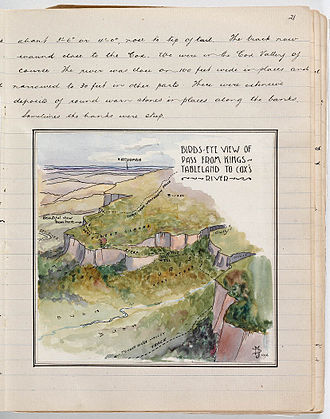 """Myles and Milo Dunphy - Image from one of Myles Dunphy's notebooks, """"Birds-eye view of pass from Kings Tableland to Cox's River"""""""