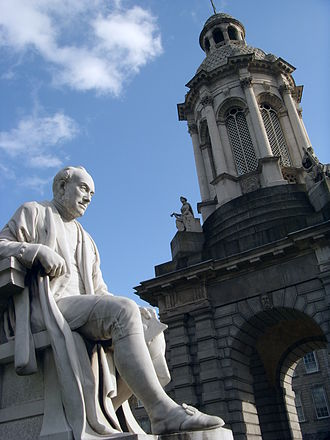 Anglo-Irish people - Statue of Anglo-Irish mathematician and theologian George Salmon (1819–1904), in front of the campanile of Trinity College, Dublin, the traditional alma mater of the Anglo-Irish class.  Salmon was provost of Trinity from 1888 until his death.
