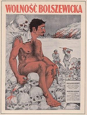 Anti-Bolshevik propaganda - Image: Trotsky on a Polish poster of 1920