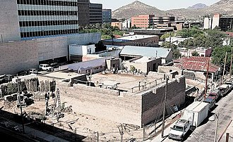 Presidio San Agustín del Tucsón - The reconstructed northeastern bastion of the Tucson Presidio in 2009.