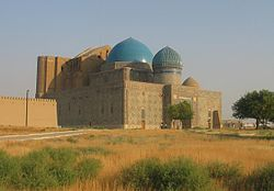 View of the Mausoleum of Khoja Ahmed Yasawi in Turkestan, Kazakhstan.