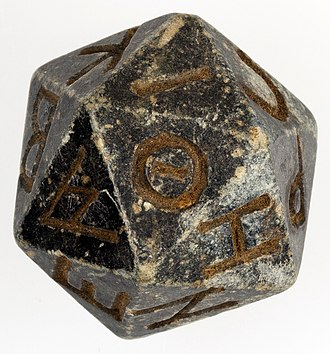 Regular icosahedron - Twenty-sided die from Ptolemaic Egypt
