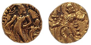 "Chandragupta II - Gold coins of Chandragupta II. The one on the left is the obverse of a so-called ""Chhatra"" type of Chandragupta II, while the one on the right is the obverse of a so-called ""Archer"" type of Chandragupta II."