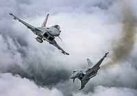 Two Typhoon FGR4 aircraft, flown by 29 (R) Squadron from RAF Coningsby MOD 45164128.jpg