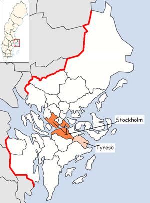Tyresö Municipality - Image: Tyresö Municipality in Stockholm County