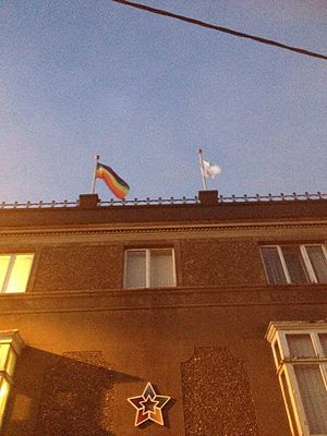 UCC Students' Union - The Pride flag flown atop the UCC Students' Union building
