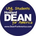 UNL Students for Howard Dean button.png