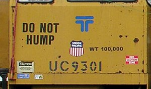 "Classification yard - Not all cars can be sent over a classification hump. This Union Pacific track maintenance vehicle is permanently labelled ""Do not hump"", because it is not designed to withstand hump sorting."