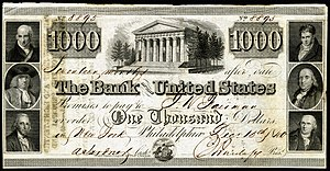 Second Bank of the United States - A promissory note issued by the Second Bank of the United States, December 15, 1840, for the amount of $1,000.