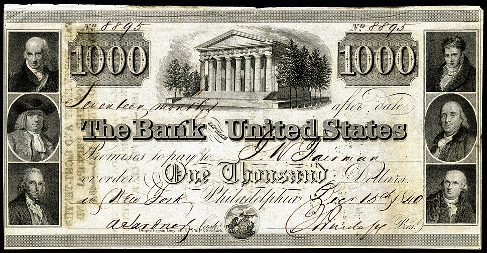 US-$1000-Bank of the United States (due 15-Dec-1840)