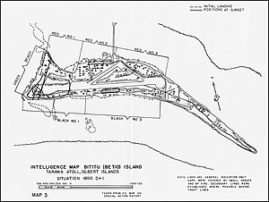 Battle of Tarawa - Map of Betio Island, SW corner of Tarawa Atoll