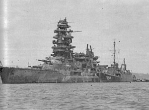 USS Horace A. Bass (APD-124) alongside the Japanese battleship Nagato at Yokosuka on 30 August 1945