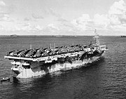 USS Monterey (CVL-26) at anchor in Ulithi Atoll on 24 November 1944
