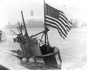 USS S-4 (SS-109) - S-4 is towed to the Boston Navy Yard after being salvaged, 1928.