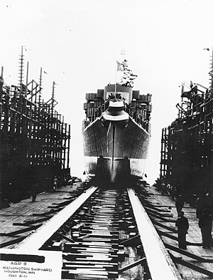 USS Willoughby (AGP-9) - Willoughby is launched at Lake Washington Shipyard, Houghton, Washington, on 23 August 1943.