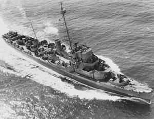 USS William T. Powell (DE-213) underway in the Atlantic Ocean on 9 July 1944 (80-G-239228)