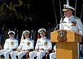 US Navy 050513-N-7615S-084 Commander, First Naval Construction Division, Rear Adm. Robert L. Phillips, delivers his remarks at the change of command ceremony for Amphibious Construction Battalion One (ACB-1).jpg