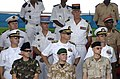 US Navy 060627-N-9500T-161 Commander, Combined Joint Task Force-Horn of Africa, Rear Adm. Richard Hunt, center, and other coalition officers observe a military parade honoring the 29th anniversary of Djibouti's Independence fro.jpg