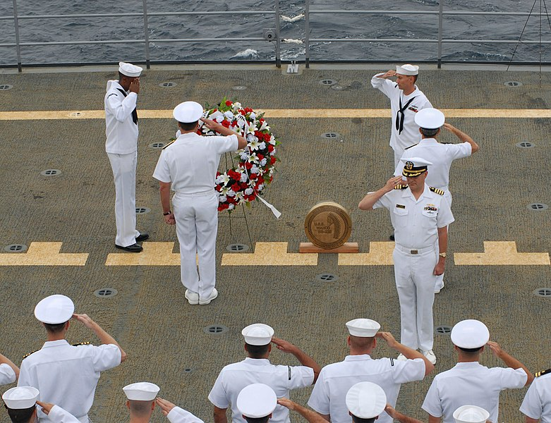 File:US Navy 070708-N-7631K-215 Sailors aboard submarine tender USS Frank Cable (AS 40) write the final chapter of the legendary USS Wahoo (SS 238) during a wreath laying ceremony.jpg