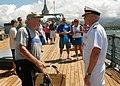 US Navy 070816-N-5476H-021 Commander, U.S. Pacific Fleet, Adm. Robert Willard takes a moment to thank Bob Albin, a Battleship Missouri Memorial volunteer.jpg