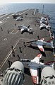 US Navy 080201-N-7571S-001 T-45 Goshawk training aircraft are staged on the flight deck of the Nimitz-class aircraft carrier USS Theodore Roosevelt (CVN 71).jpg