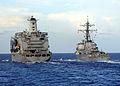 US Navy 080709-N-1082Z-001 The Military Sealift Command fleet replenishment oilier USNS Leroy Grumman (T-AO 195) pulls alongside the guided-missile destroyer USS Mahan (DDG 72).jpg