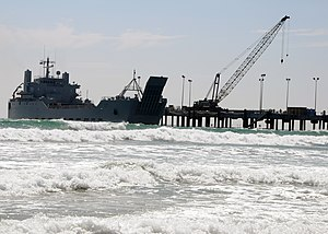 USAV General Brehon B. Somervell (LSV-3) - Image: US Navy 080722 N 1424C 672 The Army logistic support ship Gen. Brehon B. Somervell (LSV 3) approaches the surf zone as it comes alongside the elevated causeway system at Red Beach