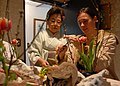 US Navy 090228-N-2610F-038 Lt. Frances Durham, right, from Annapolis, M.D. embarked aboard the Arleigh Burke-class guided-missile destroyer USS Preble (DDG 88), creates an Ikebana flower arrangement.jpg